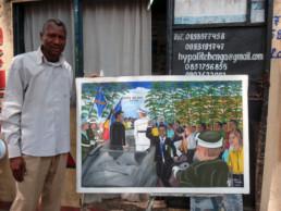 Chéri Benga_devant le tableau l'Épée du roi 2013_In Situ_Galerie Angalia