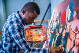 Amani Bodo dans son atelier, Kinshasa_2021_In Situ_galerie Angalia