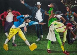 Bodo dans ses oeuvres_2016_Amani Bodo_Galerie Angalia