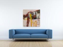 Un homme couché, une chaine, une bière_artrooms_Francis Mampuya_Galerie Angalia